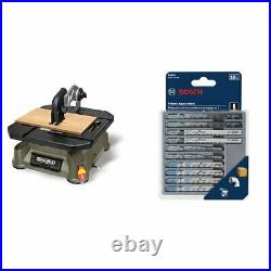 Portable Tabletop Saw with Steel Rip Fence & 10-Piece T-Shank Jig Saw Blade Set