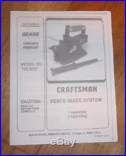 Sears Craftsman Table Saw Fence Guide System Owners Manual 720.3237 3237
